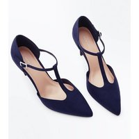 Navy Suedette T-Bar Pointed Court Shoes New Look