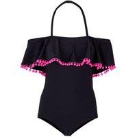 Teens Black Bardot Neck Pom Pom Trim Swimsuit New Look