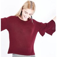 Burgundy Brushed Fine Knit Tiered Sleeve Top New Look