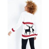 Mela Cream Reindeer Christmas Jumper New Look