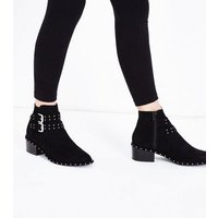 Teens Black Studded Suedette Block Boots New Look