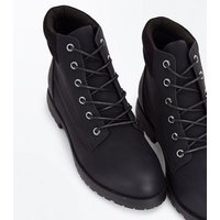 Black Contrast Cuff Lace Up Hiker Boots New Look