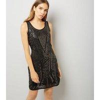 Mela Black Sequin Embellished Dress New Look