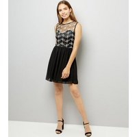 Mela Black Floral Embroidered Mesh Dress New Look