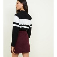 Burgundy Denim Mini Skirt New Look