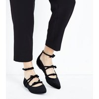Black Velvet Strappy Bow Pointed Pumps New Look