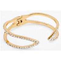 Gold Diamante Open Cuff Bangle New Look