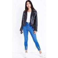 Petite Bright Blue Fray Hem High Waist Skinny Jeans New Look