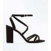 Wide Fit Black Suedette Strappy Block Heels New Look