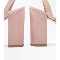 Wide Fit Pink Suedette Strappy Block Heels New Look