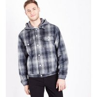 Blue Hooded Check Western Jacket New Look