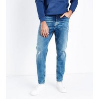 Bright Blue Distressed Tapered Jeans New Look