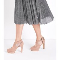 Nude Suedette Cross Strap Platform Courts New Look