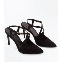 Black Suedette Cross Strap Pointed Heels New Look