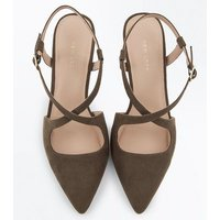 Khaki Suedette Cross Strap Pointed Heels New Look