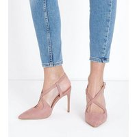 Pink Suedette Cross Strap Pointed Heels New Look