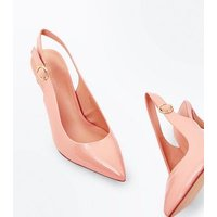 Nude Patent Circle Buckle Sling Back Pointed Heels New Look