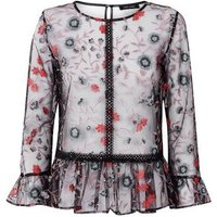 Black Floral Embroidered Mesh Peplum Top New Look