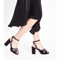 Wide Fit Black Suedette Floral Embroidered Heeled Sandals New Look