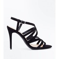 Wide Fit Black Suedette Strappy Stiletto Sandals New Look