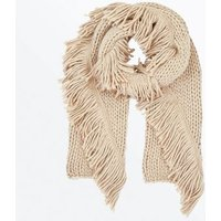 Mink Chunky Knit Fringed Scarf New Look