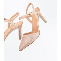Rose Gold Glitter Cross Strap Side Pointed Courts New Look