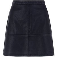 Tall Black Leather-Look Mini Skirt New Look