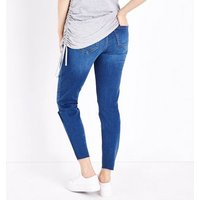 Maternity Blue Ripped Under Bump Skinny Jeans New Look