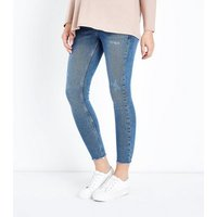 Maternity Blue Over Bump Distressed Skinny Jeans New Look