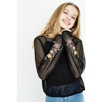 Teens Black Spot Mesh Floral Embroidered Sleeve Top New Look