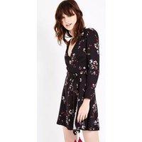 Black Floral Tassel Trim Wrap Dress New Look