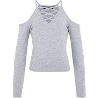 Girls Grey Lattice Front Cold Shoulder Top New Look