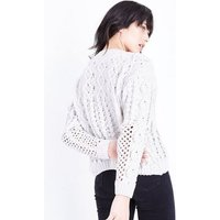 Cream Matte Chenille Contrast Cable Knit Jumper New Look