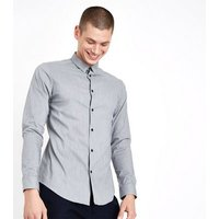 Pale Grey Muscle Fit Stretch Shirt New Look