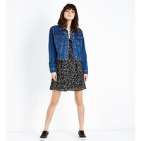 Blue Fray Hem Cropped Denim Jacket New Look