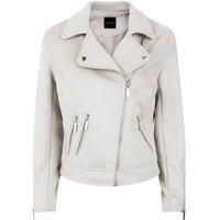 Pale Grey Suedette Biker Jacket New Look