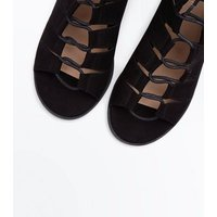 Black Suedette Low Block Heel Ghillie Sandals New Look
