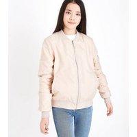 Teens Pink Satin Bomber Jacket New Look