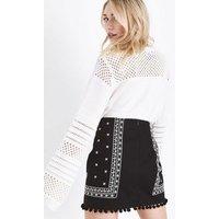 Petite Black Folk Embroidered Pom Pom Mini Skirt New Look
