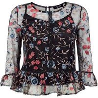 Petite Black Floral Embroidered Mesh Peplum Top New Look