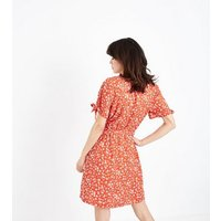 Red Ditsy Floral Print Wrap Dress New Look