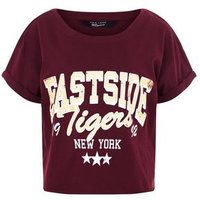 Teens Burgundy Eastside Slogan Crop Top New Look