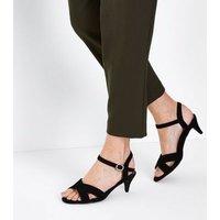 Wide Fit Black Suedette Kitten Heel Sandals New Look