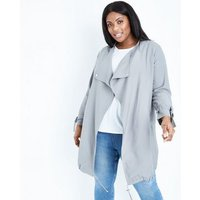 Curves Grey Waterfall Collar Duster Jacket New Look