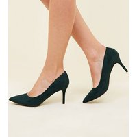 Dark Green Suedette Pointed Court Shoes New Look
