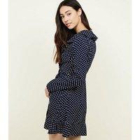 Mela Navy Polka Dot Frill Trim Wrap Dress New Look