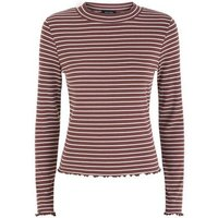 Light Brown Stripe Long Sleeve Ribbed T-Shirt New Look