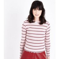Pink Stripe Long Sleeve Ribbed T-Shirt New Look