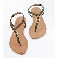 Wide Fit Khaki Suedette Metal Trim Sandals New Look