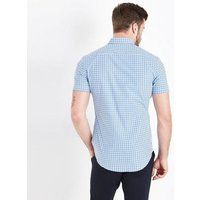 Blue Gingham Short Sleeve Muscle Fit Shirt New Look